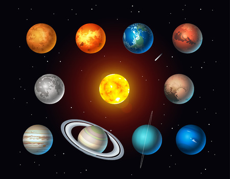 Vector set of Solar System objects. Sun, Moon, Pluto and Planets on space background Çizim