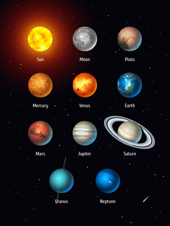 Vector set of Solar System objects. Sun, Moon, Pluto and Planets on space background Ilustrace