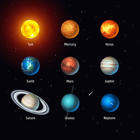 Vector set of Solar System objects. Sun and Planets on space background Stock Illustratie
