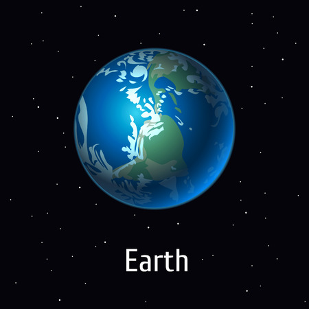 A vector illustration Solar System object, Earth Planet on space background.
