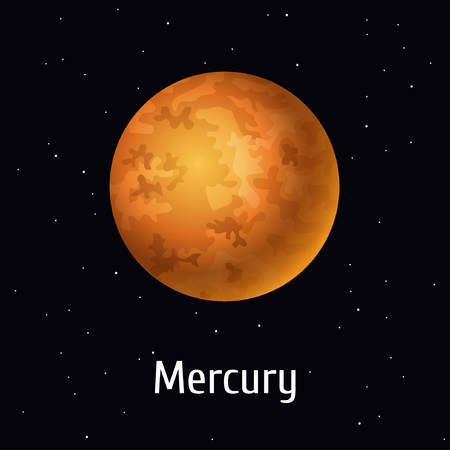Vector illustration Solar System object, Mercury on space background