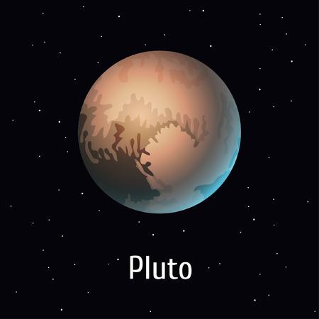 ベクトル図太陽光発電システム オブジェクト、スペースの背景に冥王星。準惑星