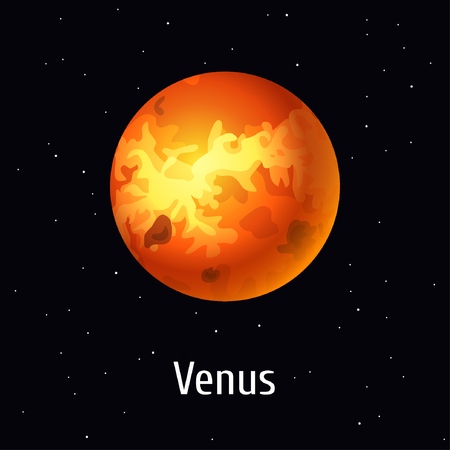 Vector illustration Solar System object, Venus on space background