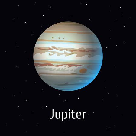 Vector illustration Solar System object. Jupiter on space background Illusztráció