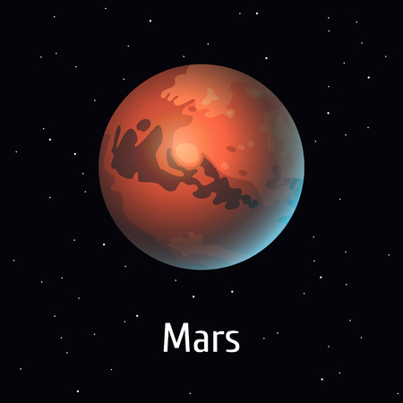Vector illustration Solar System object. Mars on space background