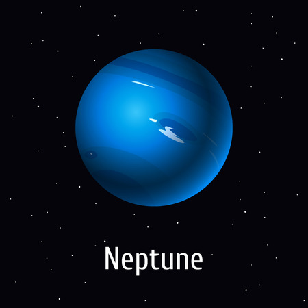 A vector illustration of Solar System object, Neptune on space background.