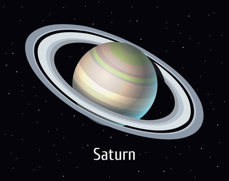 A vector illustration of Solar System object. Saturn on space background.