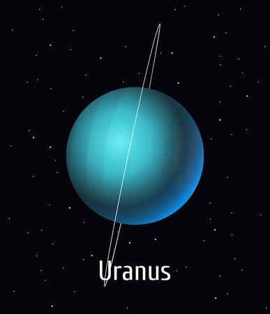 Vector illustration Solar System object. Uranus on space background 向量圖像