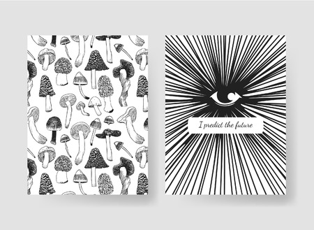 Hand drawn vector patterns brochures. Actual artistic design with mushrooms Illustration