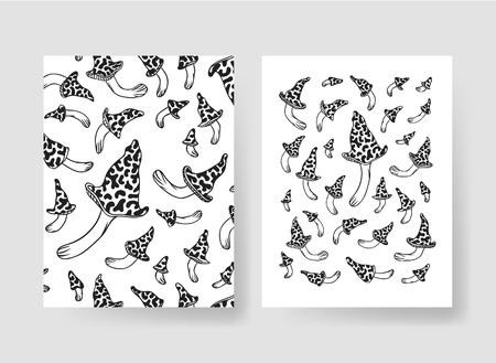 Hand drawn vector patterns brochures. Actual artistic design with mushrooms Stock fotó - 80946784