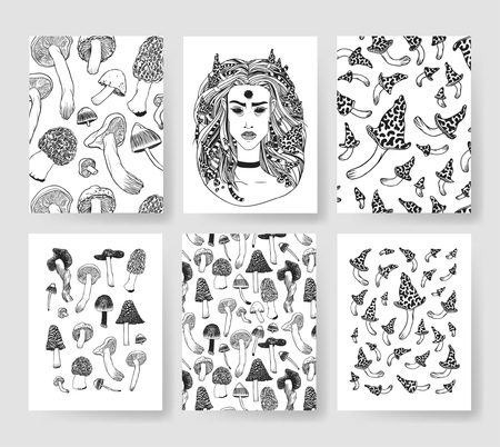 mainstream: Hand drawn vector patterns brochures. Actual artistic design with mushrooms Illustration
