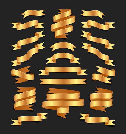 分離された blacke 背景に手描きゴールド サテンのリボンのセットです。あなたのデザインのため、フラットのオブジェクト。ベクトル アート イラス