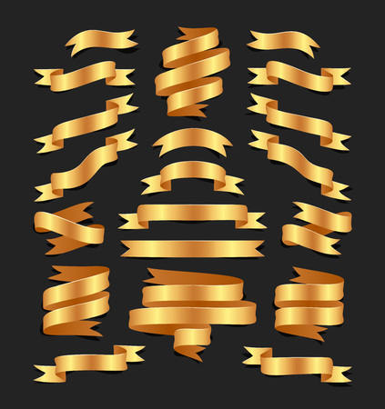 Set of hand drawn gold satin ribbons on blacke background isolated. Flat objects for your design. Vector art illustration