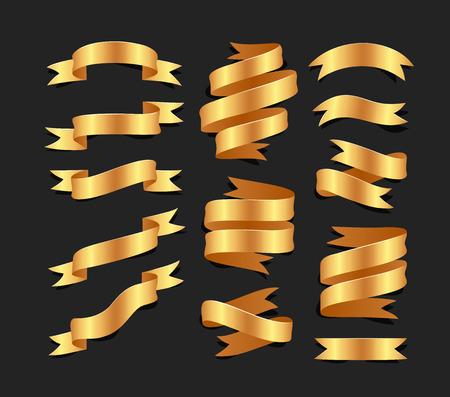 Conjunto de cintas de raso de oro dibujado a mano sobre fondo blacke aislado. Objetos planos para su diseño Foto de archivo - 82154400