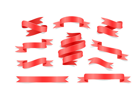 Set of hand drawn red satin ribbons on white background isolated. Flat objects for your design
