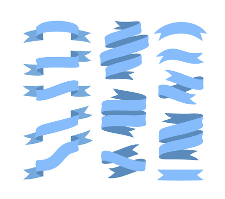Set of hand drawn blue ribbons on white background isolated. Flat objects for your design