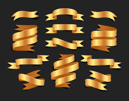 分離された blacke 背景に手描きゴールド サテンのリボンのセットです。あなたのデザインのため、フラットのオブジェクト