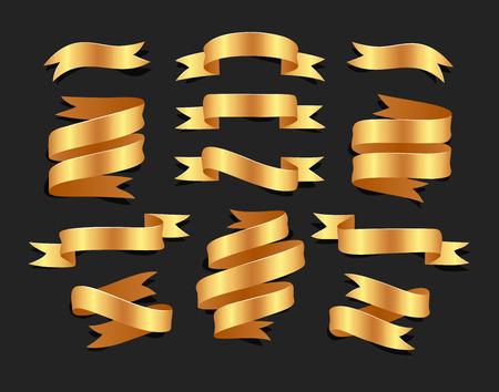 손으로 그려진 된 golde 배경에 골드 새틴 리본 메뉴의 집합입니다. 디자인을위한 평면 개체
