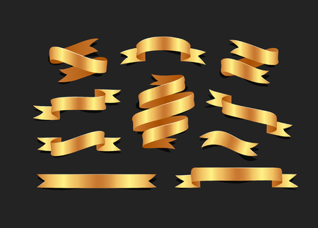 Set of hand drawn gold satin ribbons on blacke background isolated. Flat objects for your design