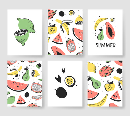 Set of templates for summer cards. Hand drawn vector patterns brochures with ice cream and fruits