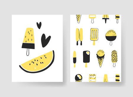 Set sjablonen voor zomer kaarten. Hand getrokken vectorpatronenbrochures met roomijs en vruchten