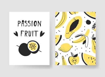 夏のカード用のテンプレートのセットです。手描きアイス クリームとフルーツのベクトル パターン パンフレット  イラスト・ベクター素材