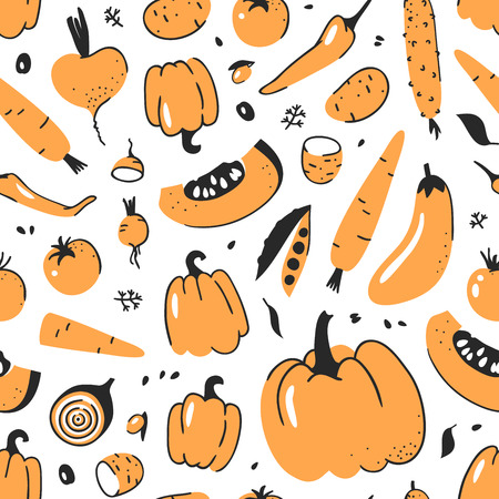 Hand drawn seamless pattern with vegetable. Vector artistic drawing food. Summer illustration