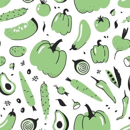 야채와 함께 손으로 그린 원활한 패턴입니다. 벡터 예술적 드로잉 음식입니다. 여름 그림 일러스트