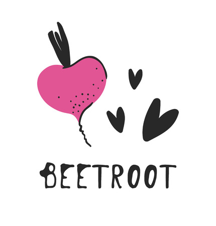 Hand drawn set of vegetable and text. Vector artistic drawing beetroot Ilustracja