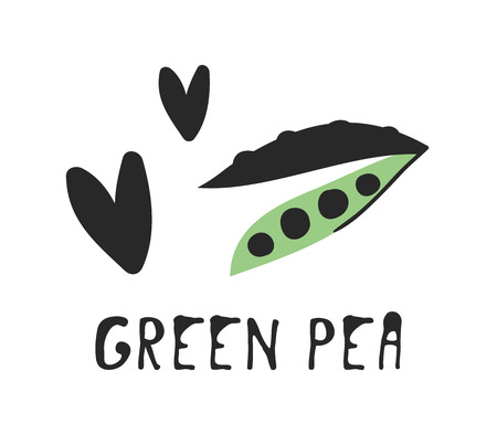 Hand drawn set of vegetable and text. Vector artistic drawing green peas Illustration