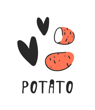 veg: Hand drawn set of vegetable and text. Vector artistic drawing potato
