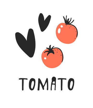 Hand drawn set of vegetable and text. Vector artistic drawing tomato Illustration