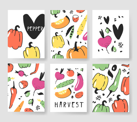 Set of templates for summer cards. Hand drawn vector patterns brochures with veggies. Actual artistic design Illustration