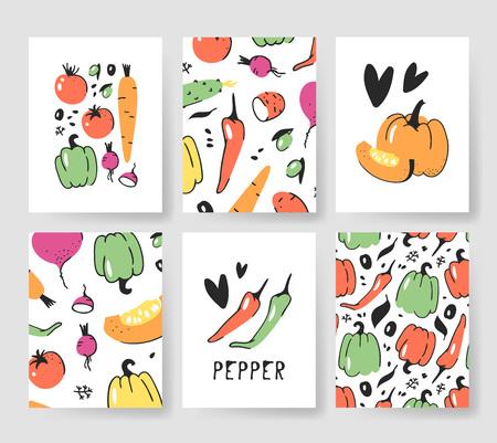 여름 카드 템플릿 집합입니다. 손으로 그린 벡터 패턴 브로셔 채소와. 실제 예술적 디자인