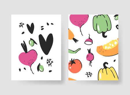 Set of templates for summer cards. Hand drawn vector patterns brochures with veggies. Actual artistic design Ilustracja