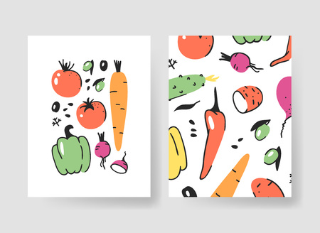 Set of templates for summer cards. Hand drawn vector patterns brochures with veggies. Actual artistic design 向量圖像