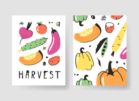 Set of templates for summer cards. Hand drawn vector patterns brochures with veggies. Actual artistic design Çizim