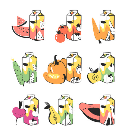 Hand drawn summer set of fruits, vegetables and juice pack. Vector artistic illustration watermelon, tomato, carrot, cucumber, pumpkin, apple, beetroot, pear, papaya drinks