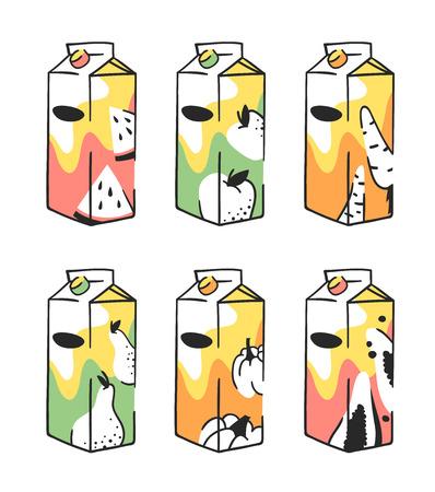Hand drawn summer set juice pack. Vector artistic illustration watermelon, carrot, pumpkin, apple, pear, papaya drinks