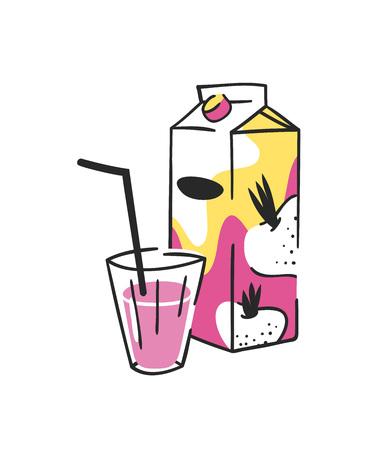손으로 그린 된 여름 주스 팩 및 유리의 집합입니다. 벡터 일러스트 레이 션 부 끄 러운 음료