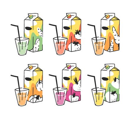 Hand drawn summer set of juice pack and glass. Vector illustration drinks