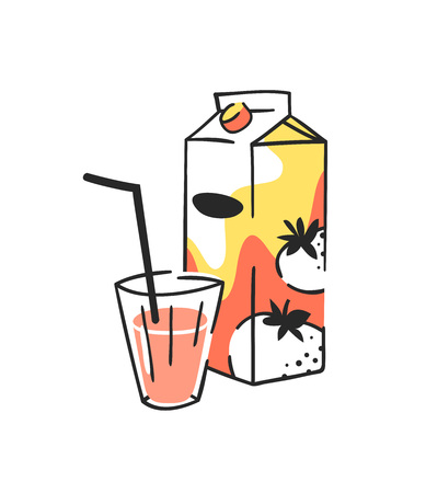 Hand drawn summer set of juice pack and glass. Vector illustration tomato drinks