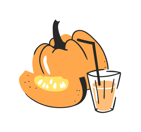 Hand drawn summer set of pumpkin, juice and glass. Vector illustration drinks and vegetable