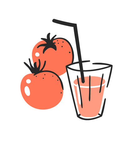 Hand drawn summer set of tomato, juice and glass. Vector illustration drinks and vegetable
