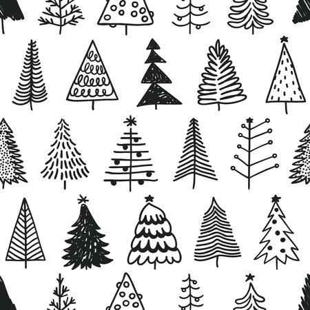 手描きのクリスマス ツリーでのシームレスなパターン。冬の木を描く抽象落書き。ベクター アートの図の休日