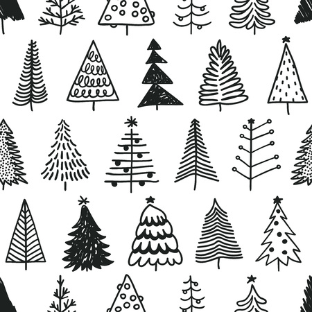 Seamless pattern with hand drawn Christmas tree. Abstract doodle drawing winter wood. Vector art Holidays illustration Stock fotó - 87287585