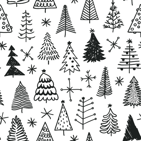 Seamless pattern with hand drawn Christmas tree. Abstract doodle drawing winter wood. Vector art Holidays illustration