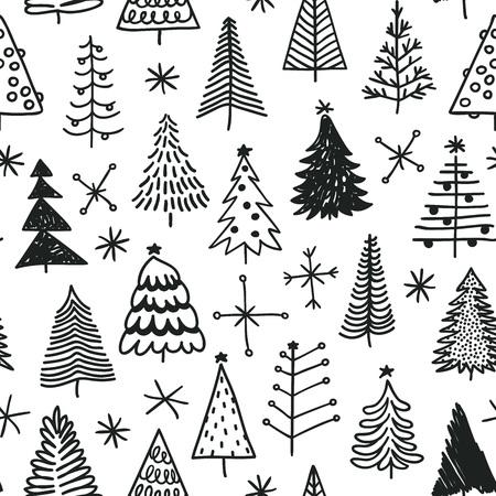 Patrón sin fisuras con dibujado a mano árbol de Navidad. Doodle abstracto que dibuja la madera del invierno. Vector art Holidays illustration
