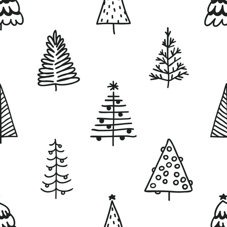 Seamless pattern with hand drawn Christmas tree. Abstract doodle drawing winter wood. Vector art Holidays illustration Stock fotó - 87287592