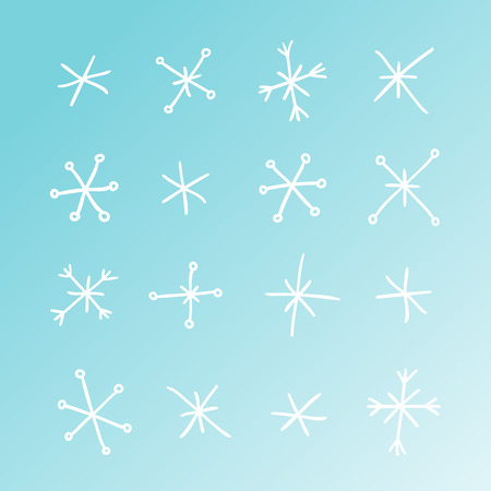 Hand drawn set of snowflakes